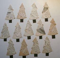 Christmas trees made from half circles. Christmas card ideas?