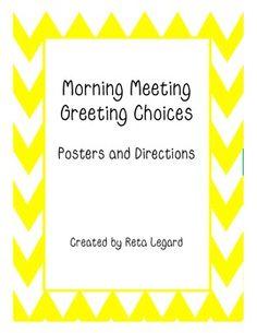 Morning Meeting Greeting Choices