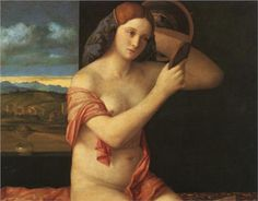 mirrors, nake young, young woman, art, young women, book, giovanni bellini, museum, 1515