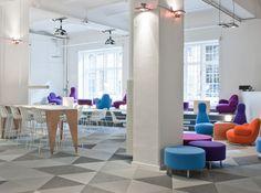 office interiors, office interior design, office designs, floor, offices, stockholm sweden, office colors, skype offic, carpet