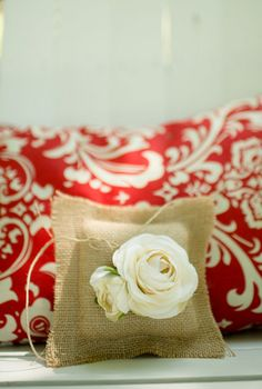 Burlap ring pillow {Photo by Danny K Photography via Project Wedding}