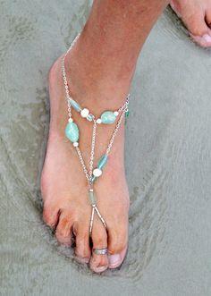 Boho Barefoot Beach Wedding Ocean Gems Sea Glass Sandal Foot Chain