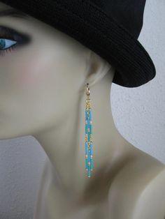 Seed Bead Dangle Earrings - Turquoise/Aqua