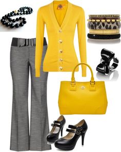 """""""gray & yellow work wear"""" by tractorqueen on Polyvore"""