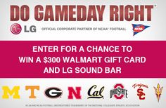Football fans Do Gameday Right! Get a chance to Win $300 Walmart & LG Sound Bar #LGCFB #ad #sponsored
