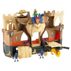 The Imaginext Lion's Den Castle is a three-story castle playset with lights and sounds that are activated by turning disks and pushing different buttons.