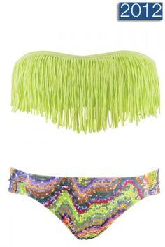 Lime green fringe swimsuit = LOVE.