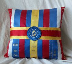 Equestrian Pillow made with Your Own Ribbons