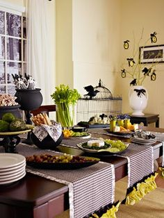 green vegetables and black table runners for halloween party decoration