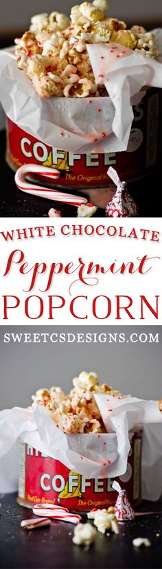 White Chocolate Peppermint Popcorn with hershey kisses- this is so delicious, easy to make and perfect for parties!