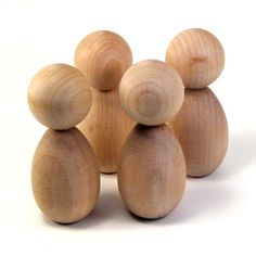 Kokeshi Dolls - Four Medium Figures- Ready To Paint DIY Wooden Dolls