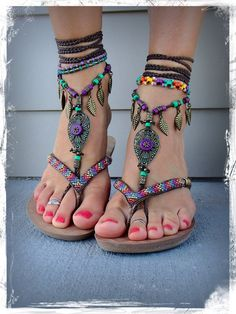 Woodland FAIRY BAREFOOT sandals Brown Forest Green by GPyoga