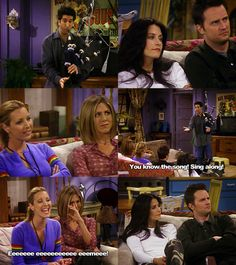 One of the funniest Friends scenes ever! Ross and his bagpipes, with Phoebe singing along x)
