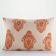 Burnt Orange Block Print Lumbar Pillow at Cost Plus World Market