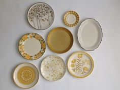 Mustard Yellow & Black Plate Collection / Instant Plate Wall