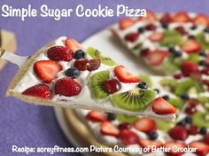 Sugar Cookie Pizza  Sugar cookie dough rolled out and baked. Cool completely.  Topping  8 oz. cream cheese, softened  ½ cup sugar  1 tsp. vanilla extract  1 container Cool Whip, thawed  Assorted Fresh Fruit  For topping, blend cream cheese, sugar, and vanilla. Fold in Cool Whip. Spread cream cheese mixture over crust. Arrange fruit over cream cheese mixture. Store in refrigerator.