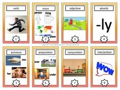 "Parts of Speech Trading Cards - This is a set of 8 ""parts of speech"" trading cards that you can use with your students when teaching grammar. I created them to look like trading cards and my students LOVE using them."