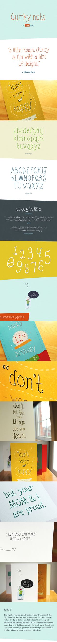 Quirky Nots (Free Font) by Amit Jakhu, via Behance