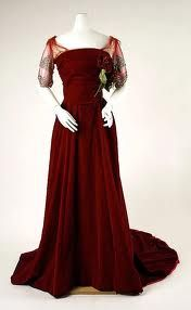 Deep red with lace sleeves  The Sisi Museum dates this resort dress to the 1880s, .