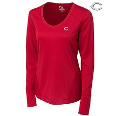 Cincinnati Reds Women's CB DryTec Long Sleeve Mogul V-neck by Cutter & Buck - MLB.com Shop. $69.99.
