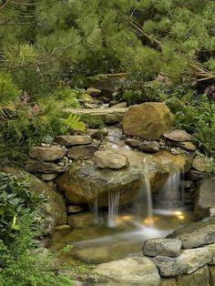 Nice plantings around a waterfall