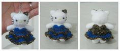 Crochet hello kitty blue dress keychain