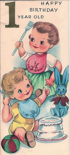 Happy birthday 1 year old! #vintage #birthday #card #cute