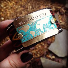 Hand stamped Wanderer tribal gypsy style genuine leather cuff Upcycled from vintage hand tooled belt on Etsy, $39.00