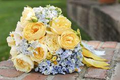 yellow blue wedding bouquet
