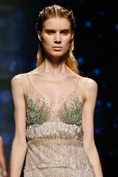 """""""Oceanic theme, with wet-look hair and video projection of water."""" Alberta Ferretti Spring 2013 RTW"""