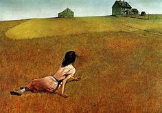 "Andrew Wyeth.""Christina's World"" - this farm is not far from where we lived in Maine, on the road to Thomaston. We drove by it several times a week. Christina Olson was the handicapped daughter of the oener, a friend of the Wyeths. This was my Mom's favorite painting, and one of mine too."