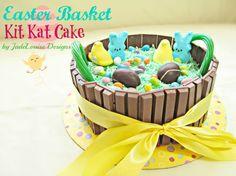 Easter Kit Kat Cake tutorial, Fun Easter Basket Cake. #KitKatCake #EasterCake #CakeTutorial #Easter #desserts