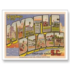 Vintage Myrtle Beach Post Cards from Zazzle.com 1952