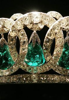 Close up of the Vladimir tiara, hung with the Cambridge emeralds.  See earlier pins and adapable tiaras board.
