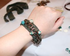 Sweater ribbon bracelet Tutorial from Copper Diem