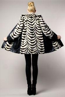 White + Black Mink Fur Coat