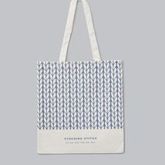 Grey Knitting Tote Bag