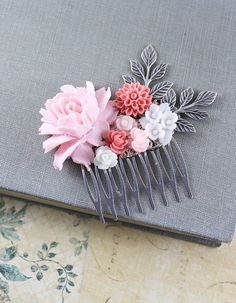 Rose Comb Pink Coral White Wedding