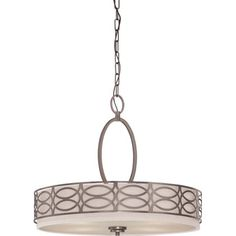 Hazel bronze-finished pendant with an interlocking openwork motif and khaki fabric shade.  Product: PendantConstruct...
