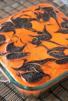 Cream Cheese Swirl Halloween Brownies- Can Try Using Family Size Brownie Mix