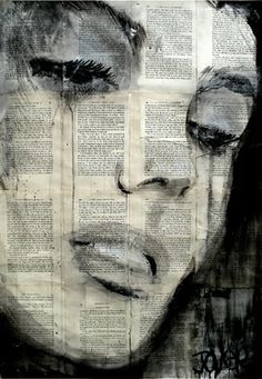"""Saatchi Online Artist: Loui Jover; Pen and Ink, Drawing """"solitude"""" LOVE the idea of doing an art project on book pages!"""