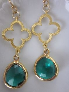 Emerald Green and Gold Earrings $32