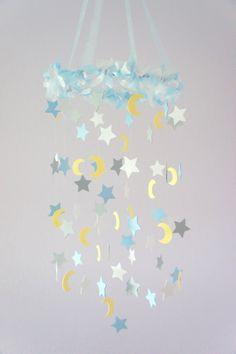 Moon & Stars Nursery Mobile Nursery Decor Baby by LoveBugLullabies, $63.00