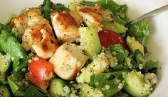 Quinoa Chicken Salad - chicken breast, cooked quinoa, spinach, medium tomatoes, cucumber, avocado, shallots, minced garlic clove, lemon juice, olive oil, sea salt - Strict Candida Diet