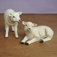 "Resting and Standing Lambs - Fiberglass (22""W) 54"" scale Gentle animals...pair of lambs...greeted Mary and Joseph. This wonderful large Resting Lamb and Standing Lamb are constructed of fiberglasss and hand painted. $219.00"