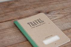 TRAVEL BOOK - green - letterpress printed notebook - vintage design. $6.00, via Etsy.