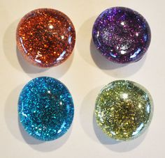 Glitter Glass Magnets and Pins