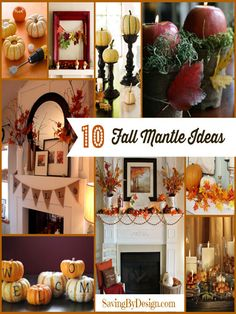 Get your fireplace ready for the season with these 10 Great Fall Fireplace Mantle Ideas!   SavingByDesign.com
