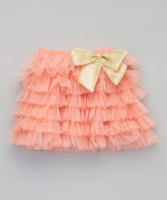 Coral & Gold Tier Bow Tutu - Toddler & Girls   zulily