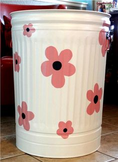 The trash can/laundry basket I painted! By: Brooke S.